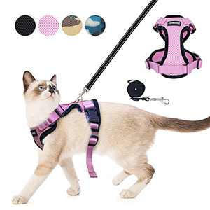 LuxRoom Cat Leash and Harness Set for Walking, Adjustable Breathable Kitten Harness and Leash with Safety Reflective Strap