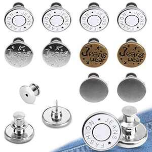 10PCS Button Pins for Jeans No Sew, TOOVREN Perfect Fit Instant Button Attacher Detachable Jean Buttons Replacement Pant Button Pin Snap on buttons for crafts to Extend or Reduce Any Pants Waist Size