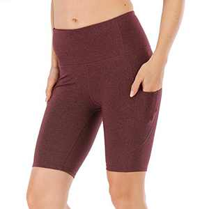 UBFEN Women's High Waist Yoga Shorts Workout Athletic Shorts for Tummy Control Running Sports Biker Pants with Pockets B Wine Red Large