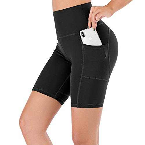 """UBFEN Women's High Waist Yoga Shorts Workout Athletic Shorts for Tummy Control Running Sports Pants with Pockets A Black 8"""" Medium"""