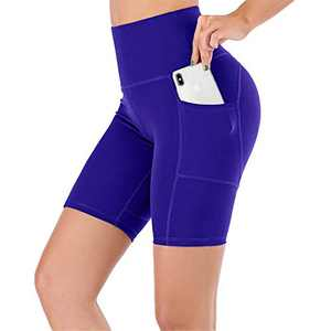 UBFEN Women's High Waist Yoga Shorts Workout Athletic Shorts for Tummy Control Running Sports Biker Pants with Pockets A Blue Medium