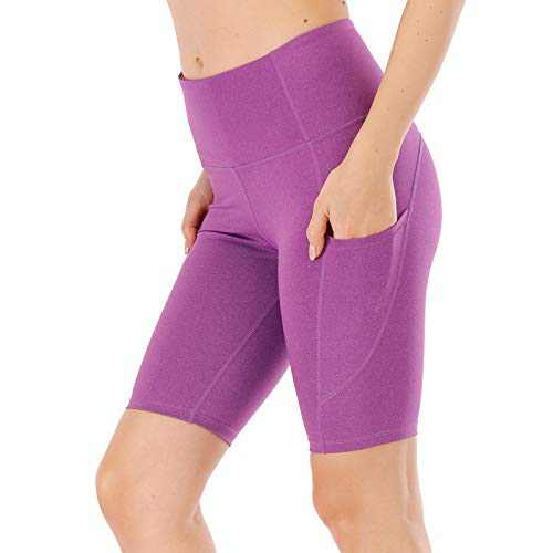 """UBFEN Women's High Waist Yoga Shorts Workout Athletic Shorts for Tummy Control Running Sports Pants with Pockets B Purple 8"""" X-Small"""