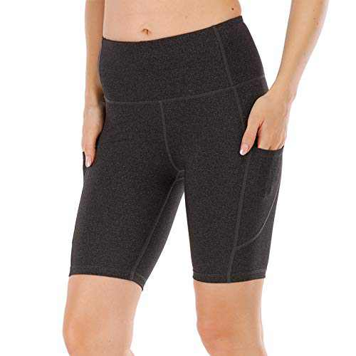 """UBFEN Women's High Waist Yoga Shorts Workout Athletic Shorts for Tummy Control Running Sports Pants with Pockets B Black 8"""" Medium"""