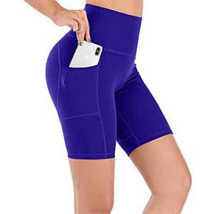 UBFEN Women's High Waist Yoga Shorts Workout Athletic Shorts for Tummy Control Running Sports Biker Pants with Pockets A Blue XX-Large