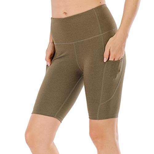 """UBFEN Women's High Waist Yoga Shorts Workout Athletic Shorts for Tummy Control Running Sports Pants with Pockets B Green 8"""" Medium"""