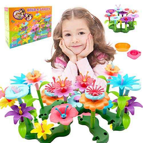 UAIAH Flower Garden Building Toys for Girls 3,4,5,6 Years Old Gardening Pretend Playset Education Activity STEM Toys for Preschool Kids Birthday Gift 133pcs