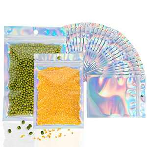 """Aisto 100 pcs Holographic Resealable Bags Two Size Combinations Smell Proof Bag for Storage Ziplock Packaging Kit Party Supplies(50pcs 4x6"""" and 50pcs 5x7"""")"""