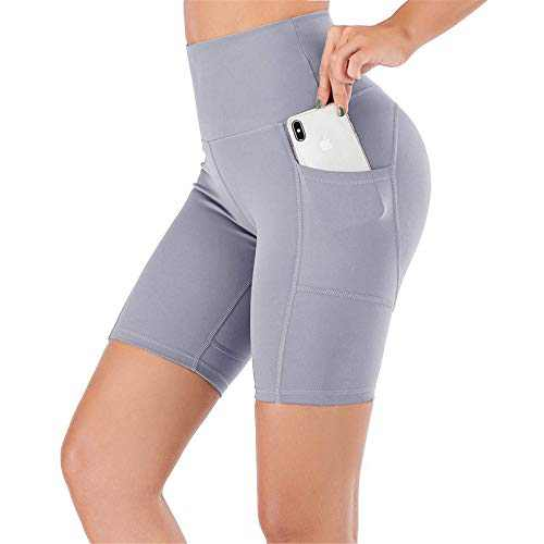 """UBFEN Women's High Waist Yoga Shorts Workout Athletic Shorts for Tummy Control Running Sports Pants with Pockets A Grey 8"""" Medium"""