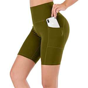 UBFEN Women's High Waist Yoga Shorts Workout Athletic Shorts for Tummy Control Running Sports Biker Pants with Pockets A Green Medium