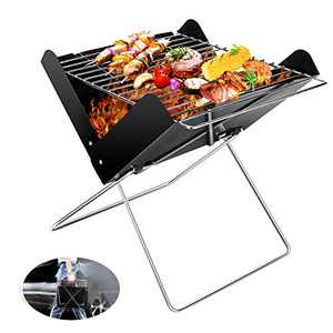Charcoal Barbecue Grill, ACETOP Portable BBQ Grill Stainless Steel Barbecue Foldable Smoker BBQ Grill Desk Tabletop Barbecue Grills for Camping Picnic Outdoor Garden Party, 31x26x29cm, Small, X-shaped