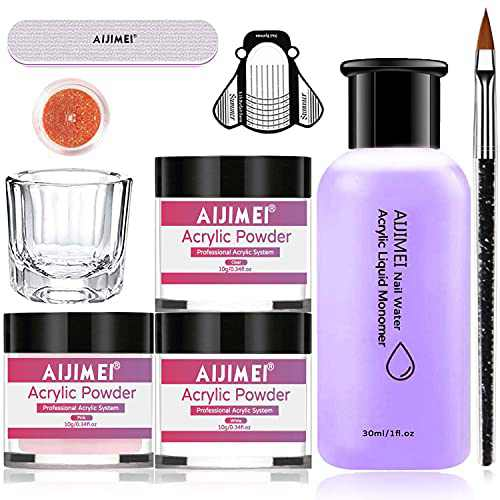 Acrylic Powder Acrylic Nail Kit with Professional acrylic Liquid Monomer Acrylic Nail Set Nail Extension Acrylic Nail Kit for Beginners Nail Art Starter Kit Acrylic Nails Acrylic Nail Supplies