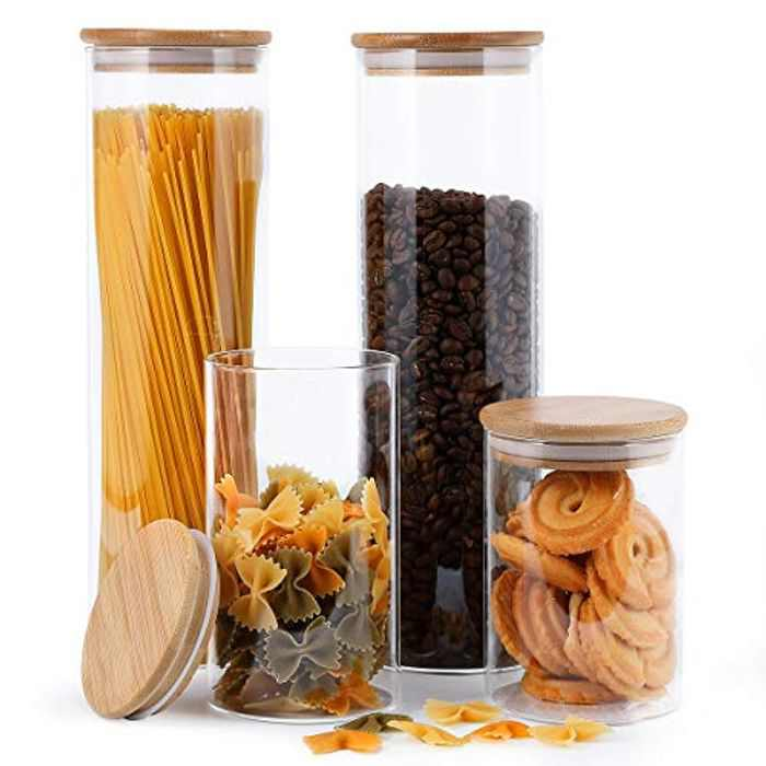 Focus Line Glass Food Storage Jars Containers, High Borosilicate Glass Cookies Jars with Airtight Bamboo Lid Set, Kitchen Canisters for Coffee, Flour, Sugar, Candy, Cookie, Spice (4)