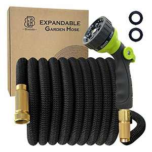 Bluebala Flexible Expandable Garden Hose - Expending Latex Water Hose with High Strength Fabric, 8-Function Nozzle and Solid Brass Fittings, No Kink, Save space, Portable and Easy Storage (50 FT)