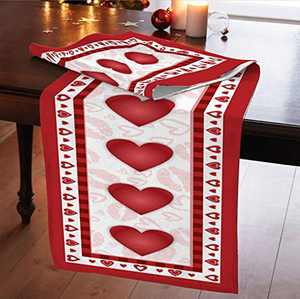 Valentine's Day Table Runner Red Heart Print Buffalo Plaid Table Runner Cotton and Linen Rectangular Tablecloth for Valentine's Day Weeding Party Mother's Day Romantic Decorations-36cmx183cm