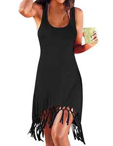 HiMiss Women Swimsuit Cover Ups Casual Tank Racerback T-Shirt Beach Dress with Pockets Black