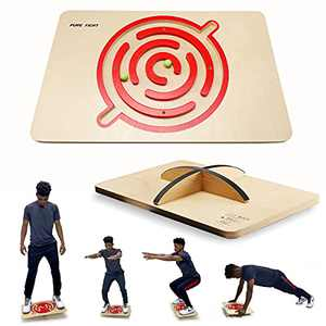 PUREFI Maze Balance Board Wooden X-Large Rolling Ball,Games for Adults,Strengthen core Rocker Board,Physical Therapy Rocker Trainer Under Standing Desk,Office Home Posture Exerciser.