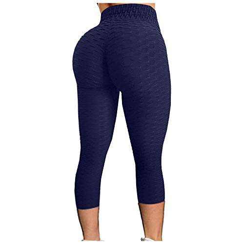 2021 Women's High Waist Yoga Pants Bubble Hip Butt Lifting Anti Cellulite Legging Workout Tummy Control Yoga Tights (Navy, XXL)