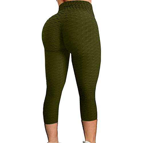 2021 Women's High Waist Yoga Pants Bubble Hip Butt Lifting Anti Cellulite Legging Workout Tummy Control Yoga Tights (Army Green, XXL)