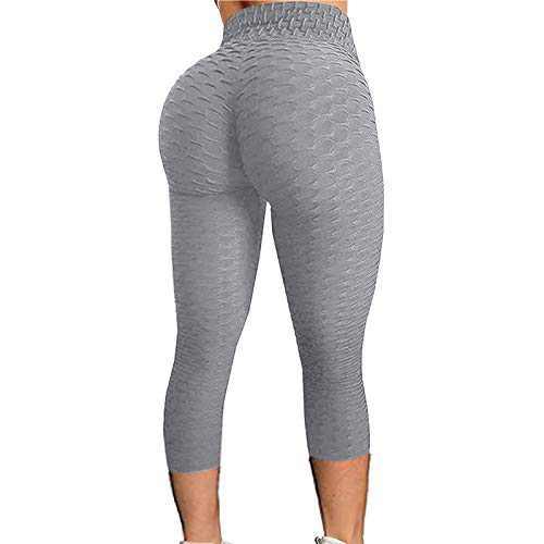 2021 Women's High Waist Yoga Pants Bubble Hip Butt Lifting Anti Cellulite Legging Workout Tummy Control Yoga Tights (Gray, M)