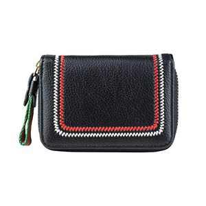 Leather Credit Card Holder for Women, Zipper Card Cases holder, Small Credit Card Wallet Small According Wallet, Travel Wallet Girls Card Holder