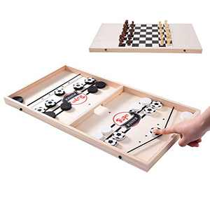 Fast Sling Puck Game, Slingshot Board Games, 2 in1 Chess Game and Sling Puck Game, Family Board Games Foosball Table Game for Adults and Kids, Small Size