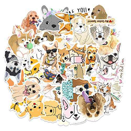 Kuazuagill 50 PCS Cute Dog Stickers for Kids and Teens, Waterproof Stickers for Laptop, Water Bottles, Phone Case, Skateboard Luggage, Bike