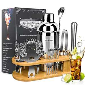 19 Pieces Bartender Kit, PECHAM Stainless Steel Cocktail Shaker Set Bar Tools Accessories Set with Stylish Bamboo Stand Premium Bartendering Tool for Home Bars Traveling and Outdoor Parties