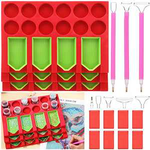 12 Slots 5D Diamond Painting Accessories Tray Organizer Tools Multi-Boat Holder with Point Drill Pen Tray Jar Containers Beading Storage Diamond Accessories Kits, Ideal for DIY Diamond Craft Arts