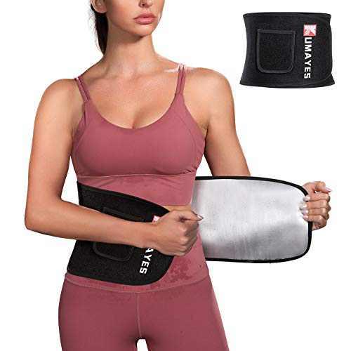 KUMAYES Waist Trainer Trimmer Belt for Women Sauna Sweat Belt Slimming Body Shaper Waist Cincher Workout Sport Girdles (Black, Medium)