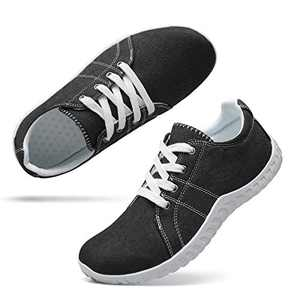 Classic Canvas Sneakers for Women Lace up Fashion Comfortable Flats Shoes for Walking 9 Women Black White