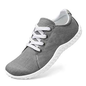 Classic Canvas Sneakers for Women Lace up Fashion Comfortable Flats Shoes for Walking 8 Women Grey