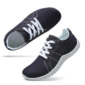 Classic Canvas Sneakers for Women Lace up Fashion Comfortable Flats Shoes for Walking 6 Women Navy