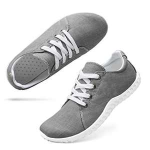 Classic Canvas Sneakers for Women Lace up Fashion Comfortable Flats Shoes for Walking 7 Women Grey