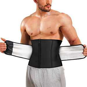 Kumayes Waist Trainer Trimmer for Men Sauna Sweat Belt Slimming Body Shaper Waist Cincher Workout Sport Girdles (Black, Medium)