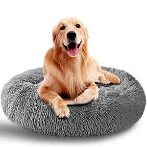 AMPERSIN Dog Bed Cat Bed,Ultra Soft Washable Dog Beds for Medium Dogs,Soft Plush Round Cat Beds for Indoor Cats,Faux Fur Donut Pet Bed(32''Navy Grey)