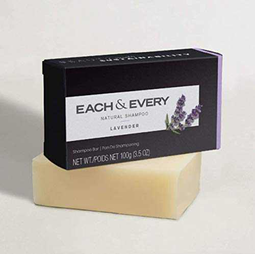 Each & Every Eco-Friendly Shampoo Bar, Solid Shampoo for All Hair Types, Vegan, Sulfate Free & Cruelty Free - Lavender