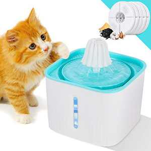 YiapMerg Cat Water Fountain,Pet Drinking Dispenser with LED Light Water Level Window 2.5L Super Quiet Electric Water Dispenser for Dogs, Cats, Birds and Small Animals.5 Carbon Filters Included