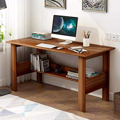 Home Office Computer Desk with Under Shelves,39/43Inch Wooden Laptop Study Table Gaming Pc Workstation for Small Spaces,Homework Writing Table (Brown 39.4 x 17.7)
