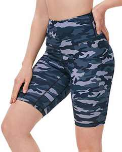 "ENEESSI Women's 8"" High Waist Biker Shorts Printed Compression Buttery Soft Workout Running Shorts Yoga Athletic Army Cyan Camo XL"