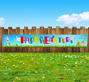 """Huanranyx Flag Happy Easter Banners - 107""""x14"""" Funny Long Easter Eggs Bunny Rabbit Party Decoration - Lawn Sign Backdrop Banner for Indoor Outdoor Easter Party Supplies"""