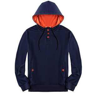 VICALLED Men's Fleece Color Contrast Hoodie Button-up Jacket Long sleeve Sweatshirt Hooded