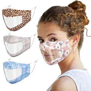 F.P.L 4PCS See Through Face Mask Reusable Washable Clear Transparent No Fog Mask with Adjustable Earloop Attractive Face Cover for Women Men Girls