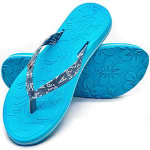 Womens YogaMatFlipFlopsComfortable Arch Support BeachLeatherStrap ThongsSandalsWith LightweightEVASole,Blue Size 10