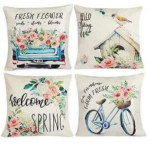 Dendrim Spring Pillow Covers 18x18 Set of 4 Farmhouse Outdoor Throw Pillowcase Decorative Pillow Covers Fresh Flowers Bird Bicycle Car Linen Cushion Case for Couch Living Room