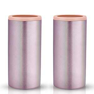 Sursip Vacuum Stainless Steel Insulated Slim Can Cooler,Double-walled Insulated Can Cooler for 12 Oz Slim Cans Beer/Soda/Beverage/Energy Drinks Cans Keeper-Glitter Rose Gold