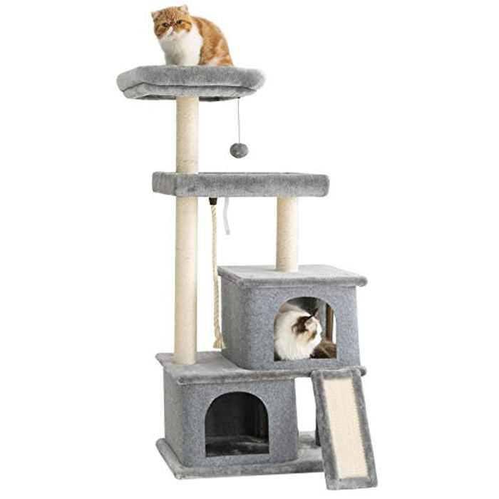 Lesure Cat Tree Play Tower - Large Cat Climbing Frame & Activity Centre Tree House Castle Stand with Sisal Scratching Posts and Condos, Grey, 127x60x40cm