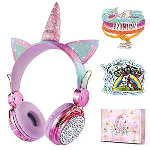 [2021 Upgrade] charlxee Kids Wireless Headphones with Microphone for School,Unicorns Gifts for Girls Children Birthday,On Over Ear Wired Headset with 500mah/Kindle/Tablet/Online Study (Rose)