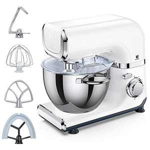 Electric Stand Mixer, UTALENT 6 Adjustable Speeds Automatic Tilt-Head Mixer with Flex Edge Beater(Bowl Scraper), Egg Whisk, Dough Hook, Flat Beater, Splash Guard and 4.2 QT Stainless Steel Bowl for Smoothies, Cakes, Butter, Sauces and Soups - White