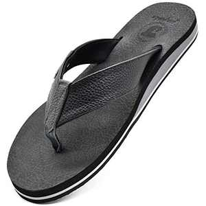 jiajiale Flip Flops for Mens Leather Arch Support Sandals Wide Comfort Yoga Mat Footbed Summer Beach Non Slip Rubber Sole Pool Shower Thongs Black Size 9