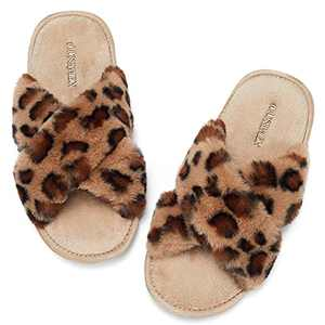 AILLOSA Women's Cross Band Soft Plush Cozy Non-Slip Open Toe Slippers Warm Indoor Outdoor House Shoes